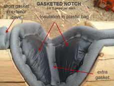 completed log notch with P gasket and batt insulation in sealed plastic envelope